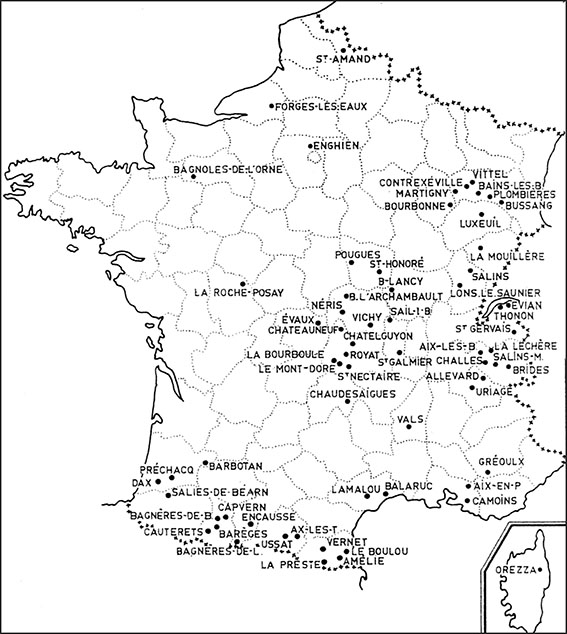 Carte des Sources thermales en France